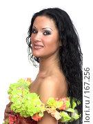 Купить «Эффектная брюнетка на белом фоне», фото № 167256, снято 15 ноября 2007 г. (c) Ольга Сапегина / Фотобанк Лори