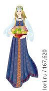 Купить «Девушка в типичном нижегородском девичем народном костюме с тарелкой зеленых яблок на белом фоне», иллюстрация № 167620 (c) Олеся Сарычева / Фотобанк Лори