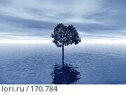 Купить «Одинокое дерево, наводнение, серо-голубая гамма», иллюстрация № 170784 (c) ElenArt / Фотобанк Лори