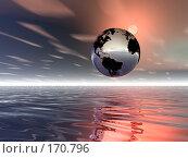 Купить «Земной шар над поверхностью воды, восход», иллюстрация № 170796 (c) ElenArt / Фотобанк Лори