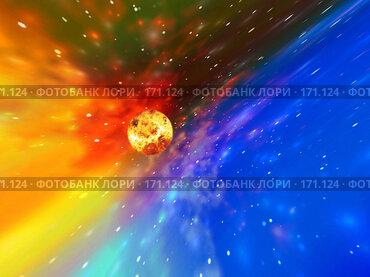 Купить «Космический пейзаж с звездой», иллюстрация № 171124 (c) ElenArt / Фотобанк Лори