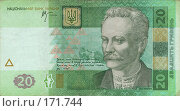 Купить «Украинские гривны - 20 грн», фото № 171744, снято 25 мая 2018 г. (c) Игорь Веснинов / Фотобанк Лори