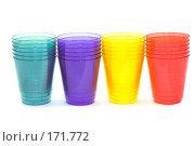 Купить «Разноцветные пластиковые стаканы на белом фоне», фото № 171772, снято 10 января 2008 г. (c) Угоренков Александр / Фотобанк Лори