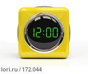 Купить «Желтые часы на белом фоне изолировано 3D», иллюстрация № 172044 (c) Hemul / Фотобанк Лори