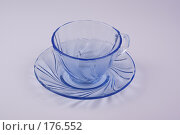Купить «Чайные блюдце и чашка из прозрачного голубого стекла на светлом фоне», фото № 176552, снято 15 января 2008 г. (c) Андрей Водилин / Фотобанк Лори