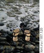 Купить «Тапочки купальщицы на морском берегу в пене прибоя», фото № 187120, снято 22 сентября 2007 г. (c) Антон Самбуров / Фотобанк Лори