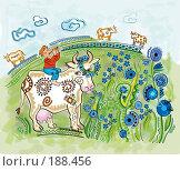 Купить «Пасущиеся на васильковом лугу коровы вместе с играющим на дудке пастухом», иллюстрация № 188456 (c) Олеся Сарычева / Фотобанк Лори
