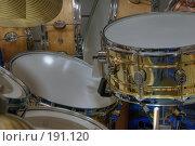 Купить «Барабанная установка», фото № 191120, снято 26 апреля 2018 г. (c) Андрей Соколов / Фотобанк Лори