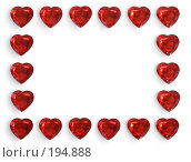 Купить «Рамка-бордюр из красивых хрустальных красных сердечек для различных поздравлений», фото № 194888, снято 24 июня 2018 г. (c) Harry / Фотобанк Лори