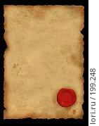 Купить «Лист старого пергамента с сургучной печатью», иллюстрация № 199248 (c) Лукиянова Наталья / Фотобанк Лори