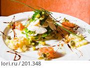Купить «Тарелка с салатом из мяса, кукурузы, ананасов, зелени, орехов и соуса», фото № 201348, снято 12 февраля 2008 г. (c) Баевский Дмитрий / Фотобанк Лори