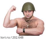 Купить «Мужчина в каске», фото № 202648, снято 13 декабря 2007 г. (c) hunta / Фотобанк Лори