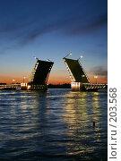 Купить «Санкт-Петербург. Вид на Неву, Дворцовый мост в белые ночи», фото № 203568, снято 10 июня 2005 г. (c) Александр Секретарев / Фотобанк Лори