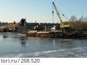 Купить «Строительство моста через реку Великую», фото № 208520, снято 4 февраля 2008 г. (c) Александр Буровцев / Фотобанк Лори