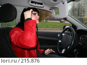 Купить «Девушка красит ресницы за рулем», фото № 215876, снято 28 октября 2007 г. (c) Наталья Белотелова / Фотобанк Лори