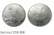 Купить «Российская серебряная коллекционная монета 1995 года», фото № 218308, снято 17 августа 2018 г. (c) ElenArt / Фотобанк Лори