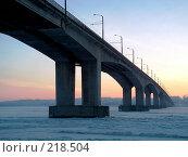 Купить «Закат. Мост», фото № 218504, снято 22 ноября 2017 г. (c) ElenArt / Фотобанк Лори