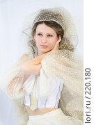 Купить «Девушка  в белом», фото № 220180, снято 4 января 2008 г. (c) Евгений Батраков / Фотобанк Лори