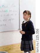 Купить «Девочка отвечает урок у доски», фото № 225356, снято 17 марта 2008 г. (c) Федор Королевский / Фотобанк Лори