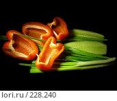 Купить «Болгарский красный перчик и зеленый лук и огурец на черном фоне», эксклюзивное фото № 228240, снято 20 марта 2008 г. (c) lana1501 / Фотобанк Лори