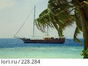 Купить «Яхта у берега маленького острова в Индийском океане», фото № 228284, снято 3 июля 2020 г. (c) Парушин Евгений / Фотобанк Лори