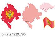 Карта Черногории с национальным флагом, иллюстрация № 229796 (c) Михаил Котов / Фотобанк Лори