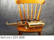 Купить «Саксофон на стуле, серый фон», фото № 231868, снято 27 июня 2006 г. (c) Татьяна Макотра / Фотобанк Лори
