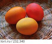 Купить «Светлой Пасхи! Крашеные пасхальные яйца в корзине», фото № 232340, снято 25 января 2007 г. (c) only / Фотобанк Лори