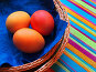 Открытка к празднику Пасхи. Пасхальные яйца, фото № 232356, снято 25 января 2007 г. (c) only / Фотобанк Лори