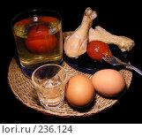Купить «Яйца, курица и маринованные помидоры на черном фоне», эксклюзивное фото № 236124, снято 30 января 2008 г. (c) lana1501 / Фотобанк Лори