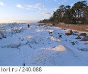 Купить «Двое среди глыб льда на берегу», фото № 240088, снято 18 ноября 2018 г. (c) Олег Крутов / Фотобанк Лори