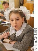 Купить «Девочка на уроке в четвертом классе», фото № 241868, снято 3 апреля 2008 г. (c) Федор Королевский / Фотобанк Лори