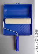 Купить «Малярный валик в ванночке для краски», фото № 243248, снято 22 сентября 2018 г. (c) Harry / Фотобанк Лори