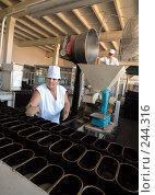 Купить «Работница кладет тесто в форму на хлебозаводе. Адыгея», фото № 244316, снято 14 сентября 2006 г. (c) Виктор Филиппович Погонцев / Фотобанк Лори