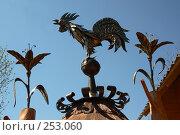 Купить «Кованные украшения на крышу. Деталь экспозиции местных ремесленников», фото № 253060, снято 17 июня 2005 г. (c) Harry / Фотобанк Лори