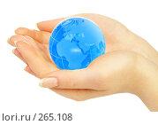 Купить «Руки держат земной шар», фото № 265108, снято 1 апреля 2008 г. (c) Андрей Армягов / Фотобанк Лори