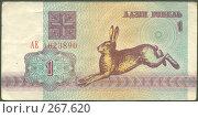 Купить «Купюра 1 рубль, Беларусь 1992 год. Лицевая сторона», фото № 267620, снято 17 марта 2019 г. (c) Николай Шашурин / Фотобанк Лори