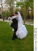 Купить «На зелёном газоне целуются и кружатся молодожёны», фото № 276872, снято 18 апреля 2008 г. (c) Федор Королевский / Фотобанк Лори