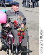 Купить «День Победы. Ветеран в инвалидной коляске», фото № 278408, снято 9 мая 2008 г. (c) Кардаполова Наталья / Фотобанк Лори