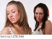 Купить «Подруга затаила обиду. Две девушки на белом фоне», фото № 278544, снято 5 апреля 2008 г. (c) Андрей Аркуша / Фотобанк Лори