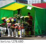Купить «Торговля цветами на улице. Рынок выходного дня, улица Сахалинская, район Гольяново, Москва», эксклюзивное фото № 278680, снято 1 мая 2008 г. (c) lana1501 / Фотобанк Лори