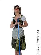 Купить «Кокетливая горничная с метлой на белом фоне», фото № 280644, снято 4 мая 2007 г. (c) Марианна Меликсетян / Фотобанк Лори