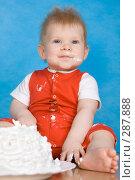 Купить «Испачкавшийся в торте малыш», фото № 287888, снято 29 февраля 2008 г. (c) Вадим Пономаренко / Фотобанк Лори