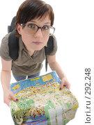 Купить «Девушка в очках с картой сочи», фото № 292248, снято 12 мая 2008 г. (c) Михаил Малышев / Фотобанк Лори