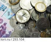 Купить «Русские монеты, часы и купюры», фото № 293104, снято 18 мая 2008 г. (c) Павел Филатов / Фотобанк Лори