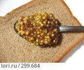 Купить «Ломоть ржаного хлеба с ложкой зерновой горчицы на белом фоне», фото № 299684, снято 24 мая 2008 г. (c) Заноза-Ру / Фотобанк Лори