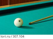Купить «Бильярдный шар и кий», фото № 307104, снято 31 мая 2008 г. (c) Рыбин Павел / Фотобанк Лори