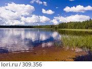 Купить «Озеро на лугу. Белые облака.», фото № 309356, снято 21 июля 2007 г. (c) Катыкин Сергей / Фотобанк Лори