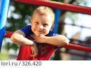 Купить «Ребёнок на детской площадке», эксклюзивное фото № 326420, снято 14 июня 2008 г. (c) Дмитрий Неумоин / Фотобанк Лори
