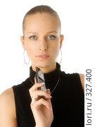 Купить «Молодая красотка с телефоном», фото № 327400, снято 28 мая 2006 г. (c) Алексей Попрыгин / Фотобанк Лори